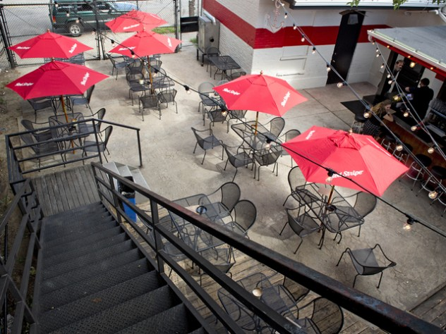 WCPO AUGUST 15, 2015 - NORTHSIDE YACHT CLUB - Take a look inside Northside Yacht Club, a new bar and music venue in the former Mayday space in Northside, at 4227 Spring Grove Ave. The back patio as seen from the second floor patio. Photo: David Sorcher
